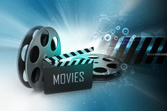 Film Reels and Clapper board. 3d illustration of Film Reels and Clapper board Royalty Free Stock Photo