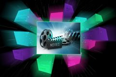 Film Reels and Clapper board. 3d illustration of Film Reels and Clapper board Royalty Free Stock Images