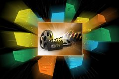 Film Reels and Clapper board. 3d illustration of Film Reels and Clapper board Stock Images