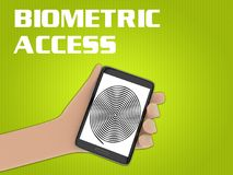 Biometric Access concept. 3D illustration of finger print on the screen of a cellulr phone held by hand, isolated on green gradient, with the script BIOMETRIC Stock Photo