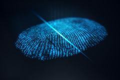 3D illustration Fingerprint scan provides security access with biometrics identification. Concept Fingerprint protection.  Royalty Free Stock Image