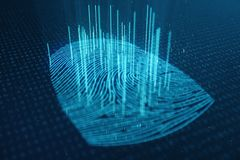 3D illustration Fingerprint scan provides security access with biometrics identification. Concept Fingerprint protection. Finger print with binary code stock image