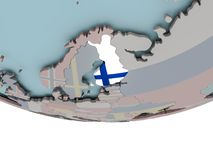 Finland with flag on globe. 3D illustration of Finland with embedded flag on political globe. 3D render Stock Images