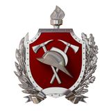 3d illustration. Fireman badge. Silver antique helmet, axes, red shield, olive branch, oak branch, ribbon. Isolated. 3D modeling Royalty Free Stock Photo