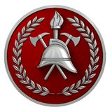 3d illustration. Fireman badge. Silver vintage helmet, axes, torch, olive branches on a red medal. Isolated. 3D modeling Stock Photos