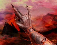 3D illustration of a first person demonic hand. Stock Image