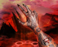 3D illustration of a first person view demonic hand magic. Stock Photo