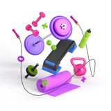 3d-illustration of the fitness equipment: step platform, weight, dumbbells, water bottle, jump rope, yoga mat, apples. 3d illustration of the concept of female stock photography