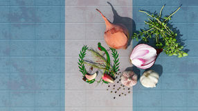 3d illustration of the flag. Of argentina and food for a healthy diet Royalty Free Stock Photography