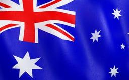 3D Flag of Australia. 3D illustration. Flag of Australia waving in the wind Stock Image