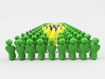 3D Illustration Flag of Brazil. Made of little men against a clear background Stock Images