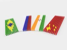 3D Illustration Flags of BRIC countries. 3D Illustration Flag of BRIC countries made of little men walking in circle against a clear background Royalty Free Stock Image