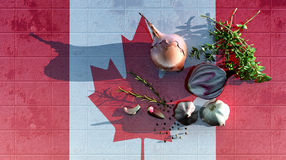 3d illustration of the flag. Of canada and food for a healthy diet Royalty Free Stock Photography
