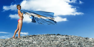 3d illustration of the flag. 3d illustration of the woman and flag of argentina Royalty Free Stock Photography