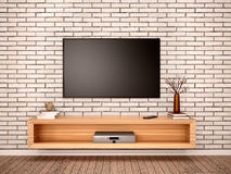 3d illustration of Flat TV with pedestal Royalty Free Stock Photography
