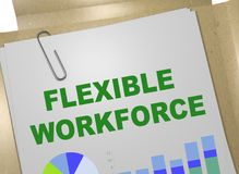 FLEXIBLE WORKFORCE concept. 3D illustration of FLEXIBLE WORKFORCE title on business document Stock Image