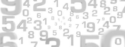 3D Illustration - fliegende Zahlen grau mit weißem Hintergrund lizenzfreie stockfotografie