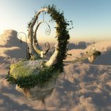3D Illustration Of A Floating Island. 3D Illustration flying above the clouds Island Royalty Free Stock Images
