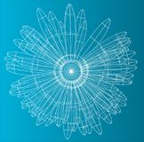 3d illustration of flower. Wire frame style on blue background Stock Photography
