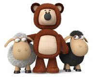 3d illustration funny sheep with a bear. 3d illustration fluffy bear stands next to the little ewes Royalty Free Stock Photo