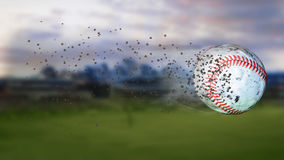 3d illustration of flying baseball leaving a trail of dust and smoke. Spinning dirty baseball, selerctive focus. Flying baseball leaving a trail of smoke.and Stock Photography