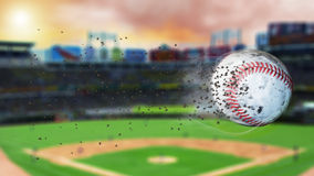 3d illustration of flying baseball leaving a trail of dust and smoke. Spinning dirty baseball, selerctive focus. Flying baseball leaving a trail of smoke and Stock Photo
