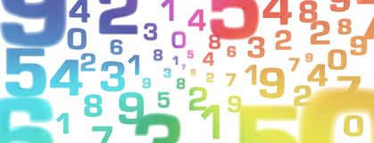 3D Illustration - Flying Numbers rainbow colors royalty free stock photos