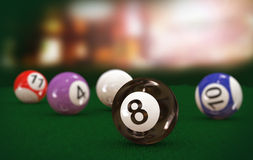 3d eight black billiard pool ball. 3d illustration of focus black eight billiard pool ball on table Stock Photography