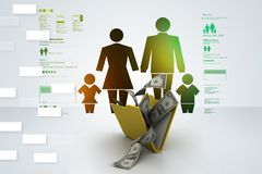 Folder with money  and family icon. 3d illustration of Folder with money  and family icon Stock Photography