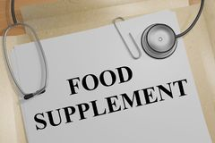 FOOD SUPPLEMENT concept. 3D illustration of FOOD SUPPLEMENT title on a medical document Stock Photos