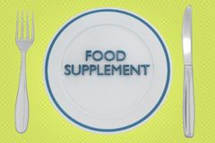 FOOD SUPPLEMENT concept. 3D illustration of FOOD SUPPLEMENT title on a white plate, along with silver knif and fork, on a yellow background Stock Photos