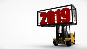 3D illustration of a forklift that lifted a container with a new year 2019 date. The idea for a calendar, transporting the future. From the past. 3D rendering vector illustration