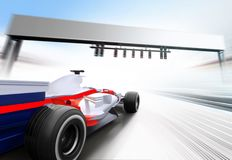 3D illustration of formula one car. Driving at high speed lap - motion blur Royalty Free Stock Images