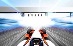 3D illustration of formula one. Car driving at high speed lap - motion blur royalty free illustration