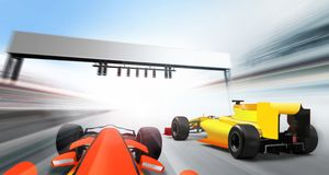 3D illustration of formula one cars. Driving at high speed lap - motion blur Royalty Free Stock Photography