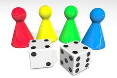 3d illustration: Four colored plastic board game pieces with reflection and two white dice with black dots isolated Royalty Free Stock Photo