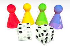 3d illustration: Four colored transparent plastic board game pieces with reflection and two white dice with black dots isolated on Royalty Free Stock Photo