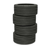 3d illustration four winter tires isolated stock images