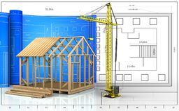 3d with drawing roll. 3d illustration of frame house construction with drawing roll over blueprint background Stock Photo