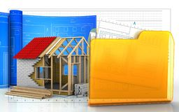 3d with drawing roll. 3d illustration of frame house with drawing roll over business graph background Stock Photography