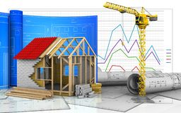 3d of frame house. 3d illustration of frame house with drawing roll over business graph background Royalty Free Stock Photography