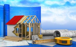 3d of frame house Royalty Free Stock Photo