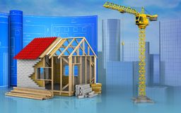 3d with drawing roll. 3d illustration of frame house with drawing roll over skyscrappers background Stock Photo
