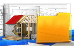 3d of frame house. 3d illustration of frame house with drawings over business graph background Stock Photos