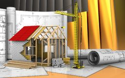 3d of frame house Royalty Free Stock Images