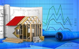 3d of frame house Royalty Free Stock Photography