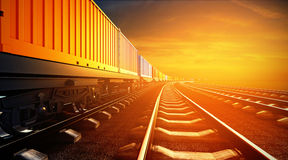 3d illustration of freight train with containers on platforms stock illustration