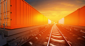 3d illustration of freight train with containers on platforms on. Sunset sky background Stock Photo