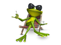 3d Illustration frog with a cup of coffee Royalty Free Stock Photo