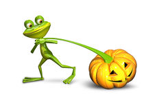 3d illustration of a frog pulling a pumpkin Stock Photography